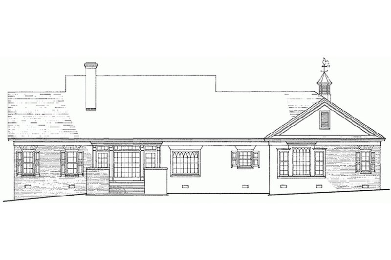Southern Exterior - Rear Elevation Plan #137-126 - Houseplans.com