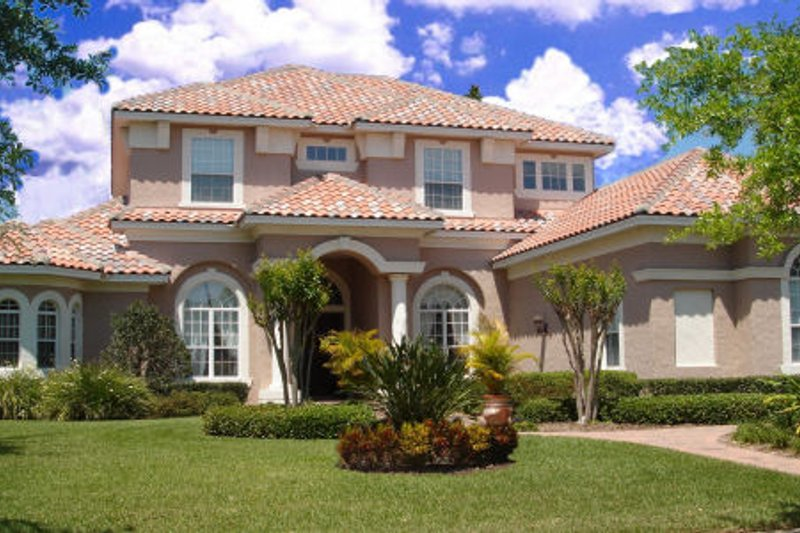 Mediterranean Style House Plan - 6 Beds 5.5 Baths 5292 Sq/Ft Plan #135-192 Exterior - Front Elevation