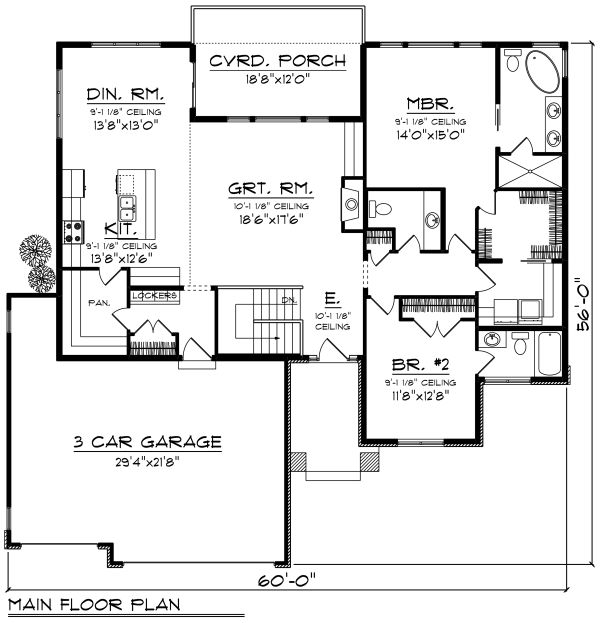 Prairie Floor Plan - Main Floor Plan Plan #70-1268