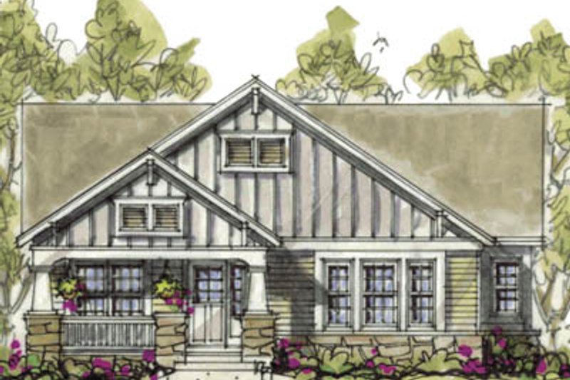 Cottage Exterior - Front Elevation Plan #20-1215