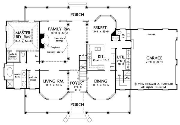 Farmhouse Floor Plan - Main Floor Plan Plan #929-16