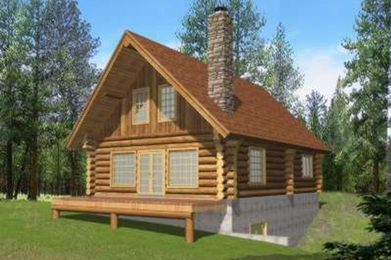 Log Style House Plan - 2 Beds 1.5 Baths 1895 Sq/Ft Plan #117-494 Exterior - Front Elevation