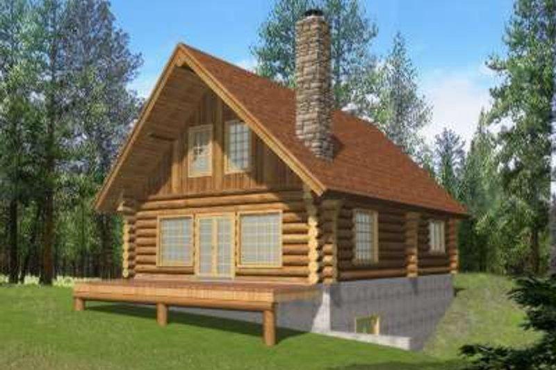 Dream House Plan - Log Exterior - Front Elevation Plan #117-494
