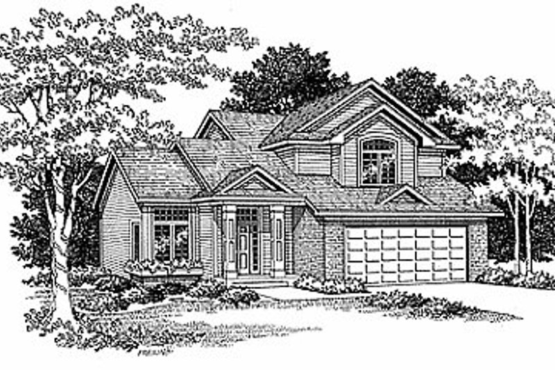 Traditional Style House Plan - 3 Beds 2.5 Baths 1550 Sq/Ft Plan #70-146 Exterior - Front Elevation