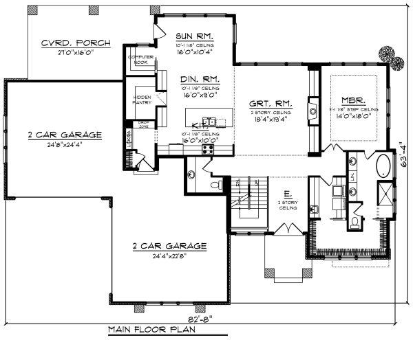 Modern Floor Plan - Main Floor Plan Plan #70-1284