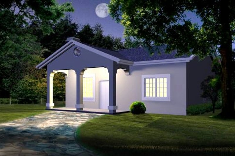 Mediterranean Style House Plan - 1 Beds 1 Baths 768 Sq/Ft Plan #1-111 Exterior - Front Elevation