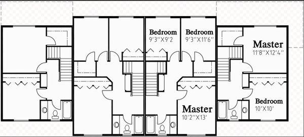 Traditional Floor Plan - Upper Floor Plan #303-474