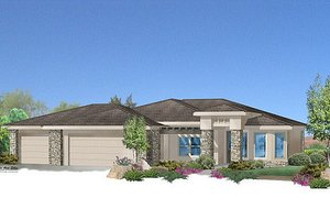 Adobe / Southwestern Exterior - Front Elevation Plan #24-226