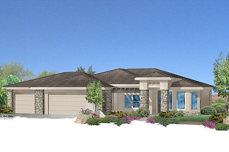 Adobe / Southwestern Style House Plan - 4 Beds 2 Baths 2038 Sq/Ft Plan #24-226 Exterior - Front Elevation
