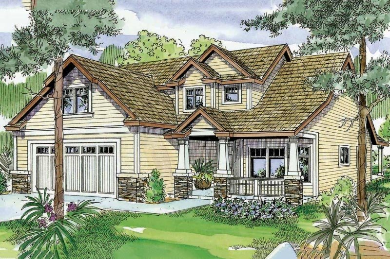 Craftsman Exterior - Front Elevation Plan #124-739