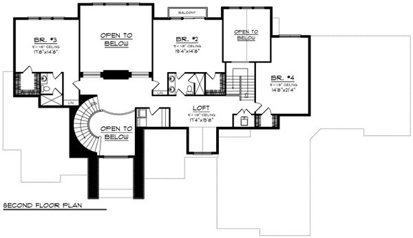 Traditional Floor Plan - Upper Floor Plan Plan #70-1206