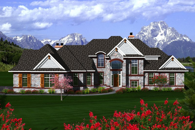 European Exterior - Front Elevation Plan #70-1145 - Houseplans.com