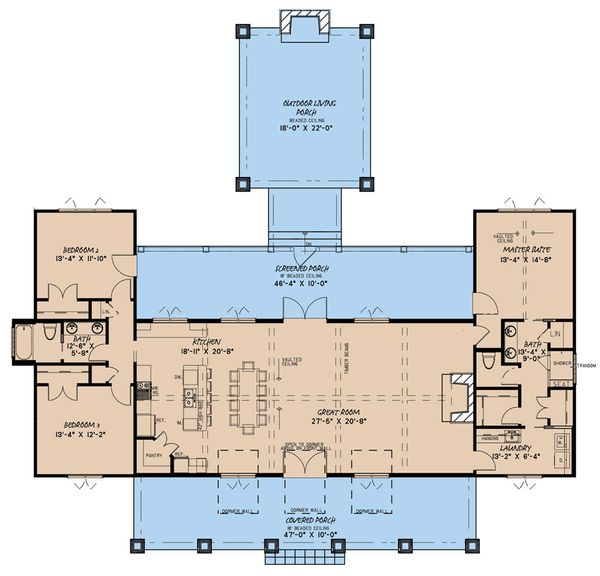 Farmhouse Floor Plan - Main Floor Plan Plan #923-161