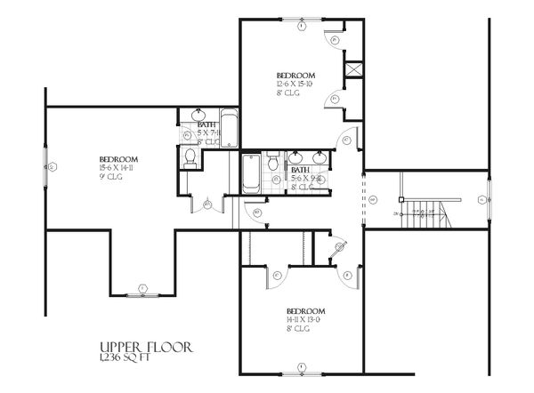 Farmhouse Floor Plan - Upper Floor Plan Plan #901-58