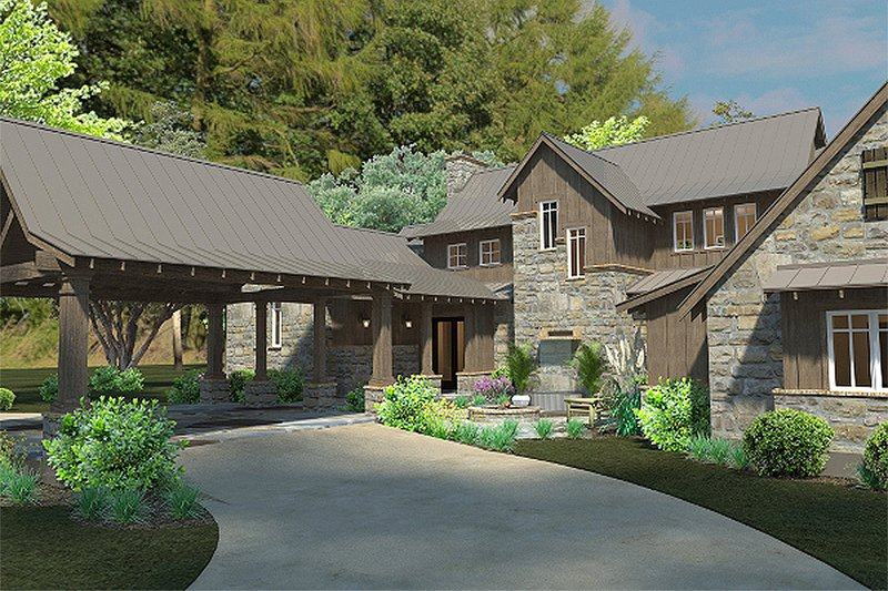 Country style home, craftsman detailing, front elevation