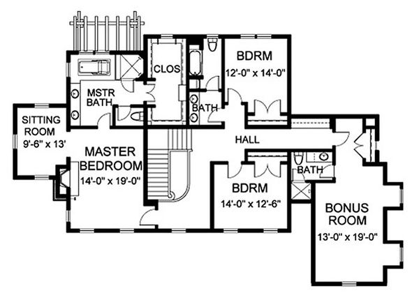 Traditional Floor Plan - Upper Floor Plan Plan #490-9