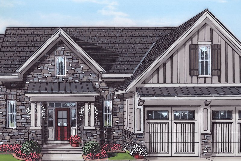 Country Style House Plan - 3 Beds 2.5 Baths 2052 Sq/Ft Plan #46-900 Exterior - Front Elevation