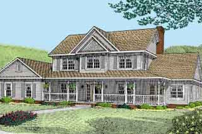 Country Style House Plan - 5 Beds 3.5 Baths 2750 Sq/Ft Plan #11-210 Exterior - Front Elevation
