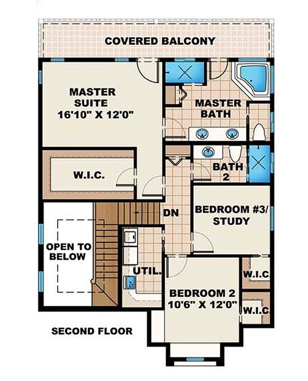 Mediterranean Floor Plan - Upper Floor Plan Plan #27-483