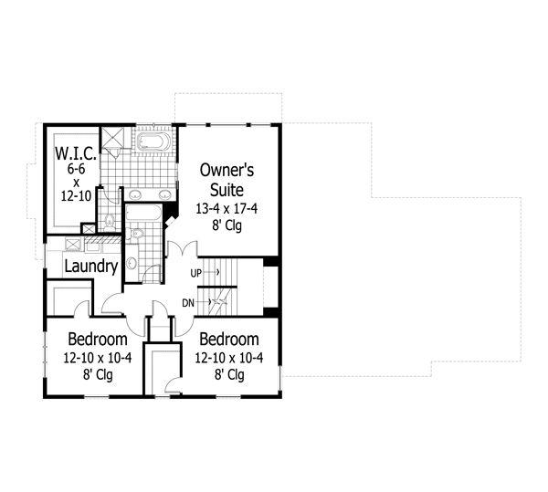 Traditional Floor Plan - Upper Floor Plan Plan #51-454