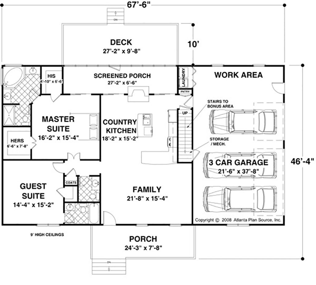 Ranch Style House Plan - 2 Beds 2.5 Baths 1500 Sq/Ft Plan #56-622 on