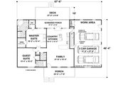 Ranch Style House Plan - 2 Beds 2.5 Baths 1500 Sq/Ft Plan #56-622 Floor Plan - Main Floor Plan