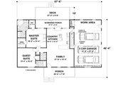 Ranch Style House Plan - 2 Beds 2.5 Baths 1500 Sq/Ft Plan #56-622 Floor Plan - Main Floor