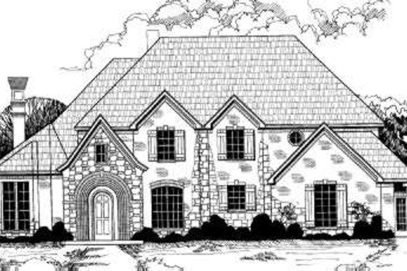 European Style House Plan - 6 Beds 4.5 Baths 3843 Sq/Ft Plan #317-110 Exterior - Front Elevation