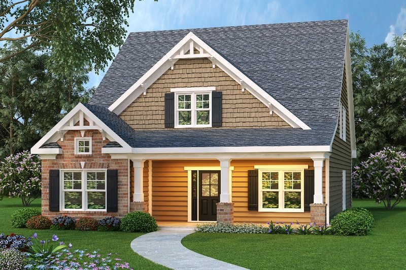 Craftsman Style House Plan - 4 Beds 2.5 Baths 2250 Sq/Ft Plan #419-208 Exterior - Front Elevation