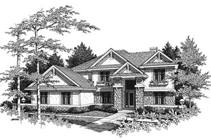 Craftsman Exterior - Front Elevation Plan #70-457