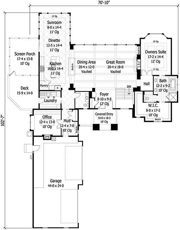 Craftsman Style House Plan - 4 Beds 3.5 Baths 5832 Sq/Ft Plan #51-414 Floor Plan - Main Floor Plan