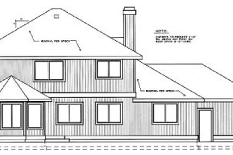 Traditional Exterior - Rear Elevation Plan #91-201 - Houseplans.com