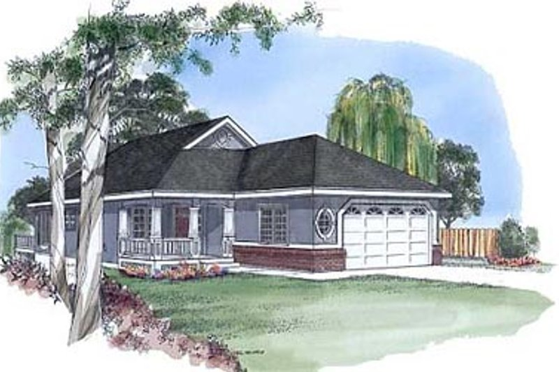 Traditional Style House Plan - 3 Beds 2 Baths 1298 Sq/Ft Plan #409-102 Exterior - Front Elevation