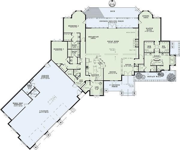 Dream House Plan - Country Floor Plan - Main Floor Plan #17-2386