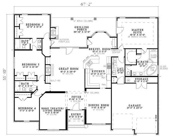 European style house plan floorplan
