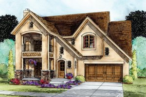 European Exterior - Front Elevation Plan #20-2195