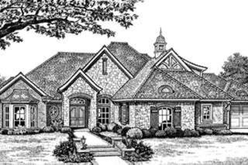European Style House Plan - 4 Beds 3 Baths 2713 Sq/Ft Plan #310-273 Exterior - Front Elevation