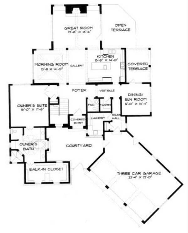 European Floor Plan - Main Floor Plan Plan #413-116