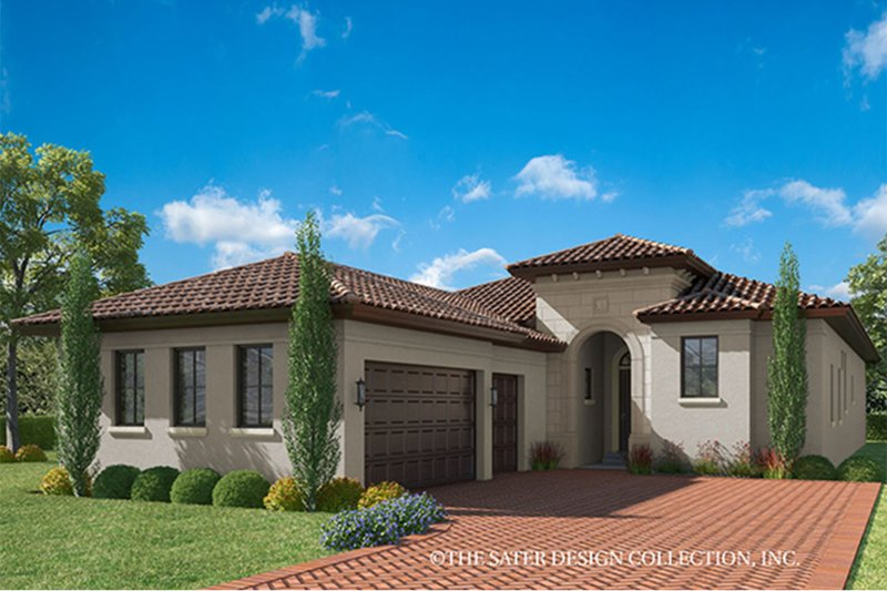 Mediterranean Style House Plan - 4 Beds 4.5 Baths 3042 Sq/Ft Plan #930-458 Exterior - Front Elevation