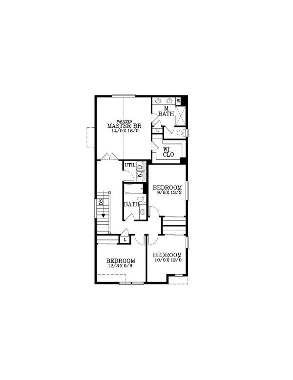 Craftsman Floor Plan - Upper Floor Plan #53-652