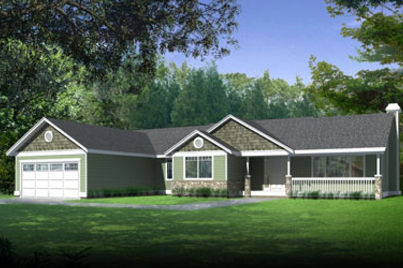 Ranch Style House Plan - 3 Beds 2 Baths 1996 Sq/Ft Plan #98-102 Exterior - Front Elevation