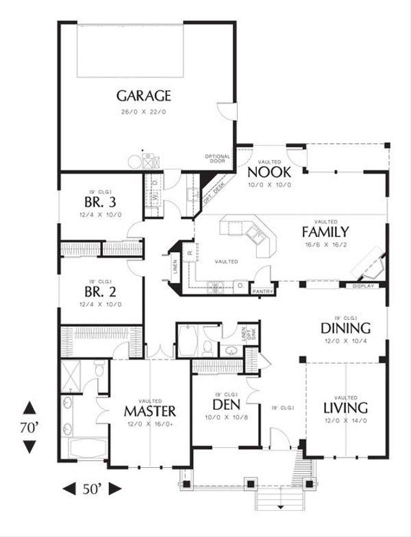 Craftsman Floor Plan - Main Floor Plan Plan #48-532