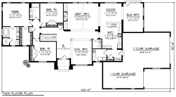 Ranch Floor Plan - Main Floor Plan Plan #70-1177