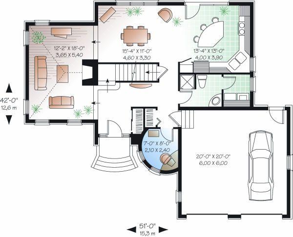European Floor Plan - Main Floor Plan Plan #23-810
