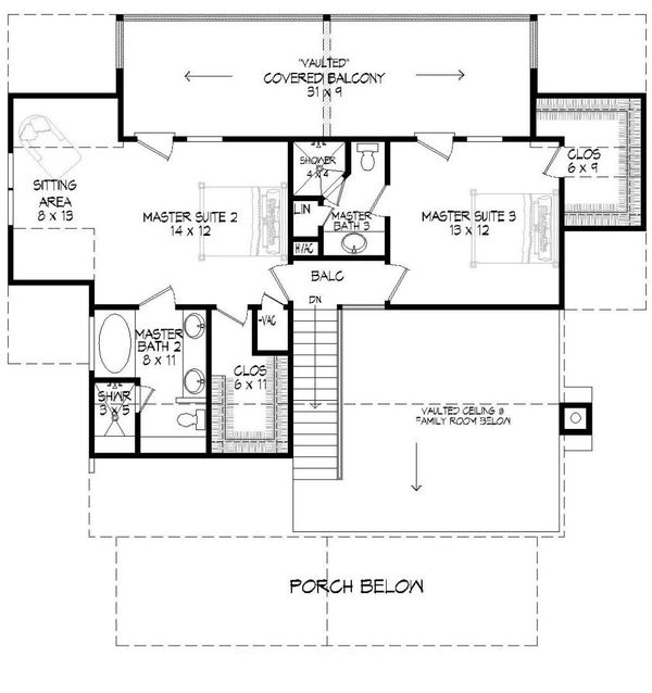 Country Floor Plan - Upper Floor Plan Plan #932-3