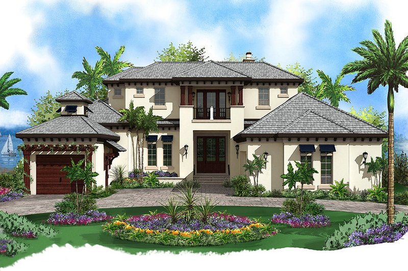 Contemporary Style House Plan - 4 Beds 4.5 Baths 5973 Sq/Ft Plan #27-532 Exterior - Front Elevation