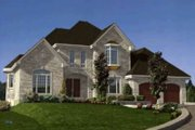 European Style House Plan - 4 Beds 2.5 Baths 2686 Sq/Ft Plan #138-123 Exterior - Front Elevation