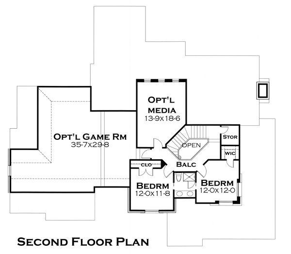 Craftsman Floor Plan - Upper Floor Plan Plan #120-179