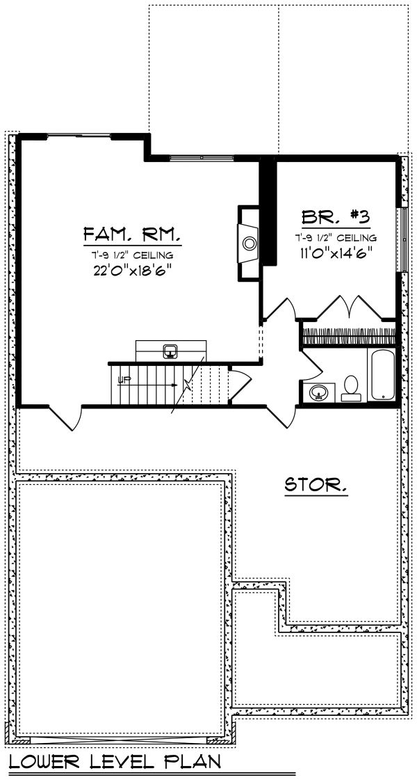 Ranch Floor Plan - Lower Floor Plan Plan #70-1497