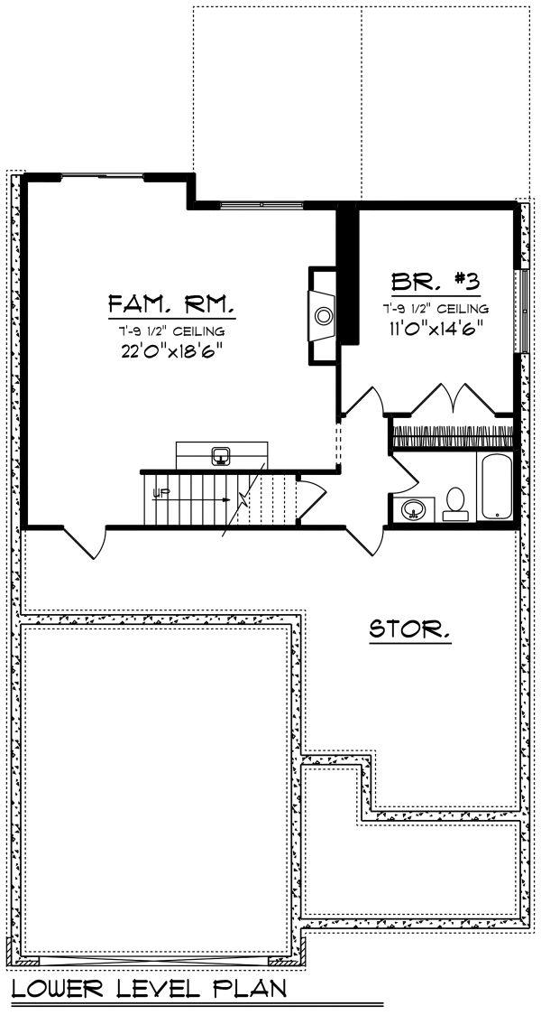 Ranch Floor Plan - Lower Floor Plan Plan #70-1497